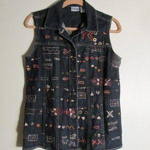Chico's Sleeveless Jean Jacket Vest